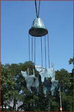Bronzeskulptur, Windspiel, Klangspiel, Motiv Katze, Garten und Hausdekoration