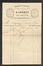 """LIMOGES (87) Magasin de CHAUSSURES """"A. SORNET"""" en 1869"""