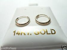 10Mm Endless Hoop Earrings.100% Guaranteed! 14Kt Pure Solid Gold Very Small