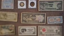 10 diff. WW2 Philippines 1940's Japanese invasion paper money and coin circ.