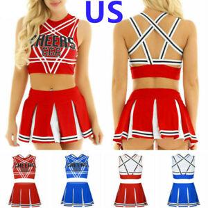 US Women's Cheer Leader School Girl Uniform Costume Fancy Dress Crop Top Skirts
