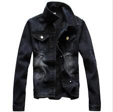 Mens Classlc Denim Jean Jacket Black Coat Men Vintage Outwear UK XS S M L XL 2XL