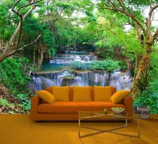 GREEN SPRING FOREST NATURE Photo Wallpaper Wall Mural RIVER WATERFALL 335x236cm