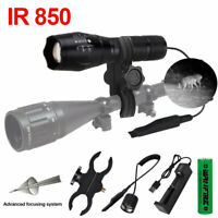 Zoomable 1-Mode 850nm LED Infrared Hunting Flashlight Waterproof Camping Torch