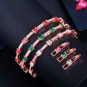 Stackable Green Gold Color Cubic Zircon Tennis Square Chain Link Bangle Bracelet