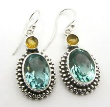 VINTAGE STYLE APATITE & CITRINE STONE 925 STERLING SILVER DROP EARRINGS 1 5/8""