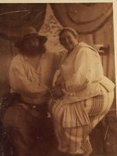 Antique Rare Carnival Instant Photo Polaroid Card Of Couple w Outfits