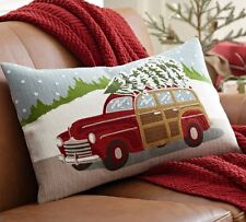 POTTERY BARN WOODY CAR WITH CHRISTMAS TREE HOLIDAY Lumbar  PILLOW COVER  NEW