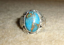 Unique 925 Sterling Blue Copper Turquoise Ring Size 10