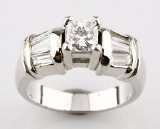 Platinum Princess Cut Diamond Engagement Ring Size 5 with Baguette Accents