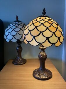"""Tiffany Modern Style Antique Brass Pair Of Scallop Table Bedroom Lamps Light 13"""""""