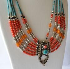 Tibetan Neckalce Turquoise Coral Tibetan Silver Amber Handmade Exclusive Ethnic
