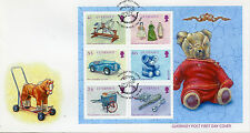 Guernsey 2015 FDC Old Toys Europa 6v M/S Cover Royalty Cars Dolls Teddy