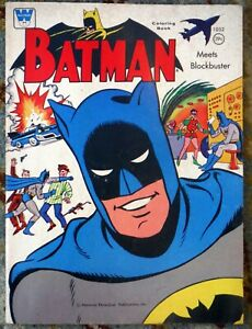 Vintage Batman Coloring Book Whitman 1966 meets Blockbuster Used a Little P1781