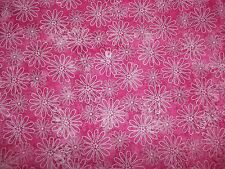 Handmade cotton fitted crib sheet Hot Pink with white daisies/Neutral
