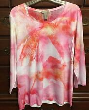 Chico's Pink, Red & Orange Blossom Maui Sunrise Harlow Top Size 2 (12/14) NWT