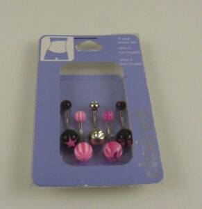 black pinks  crystal belly button ring, piercing, body jewelry 5 piece  set