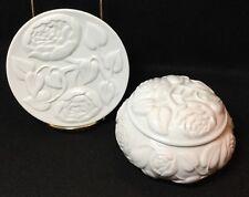 Vtg Set Blanc De Chine Vanity Box Dish Powder Jar White Floral Germaine Monteil