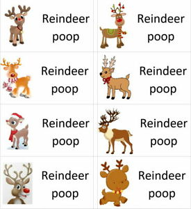 40 x Christmas Reindeer POOP labels/stickers/present/sweets/gift bags