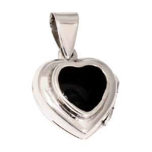 Silver Pendant Heart Locket To Open with Stone 925er Sterling