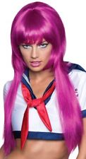 Womens Adult Long MAGENTA ANIME WIG Costume Accessory