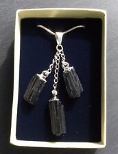 Black Tourmaline Pendant 925 Plated Necklace Gift Boxed Protective - Christmas