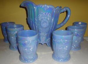 RARE MOSSER DELPHITE BLUE CARNIVAL GLASS DAHLIA 7 PC. WATER SET - PRISTINE