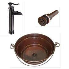 """15"""" Round Copper BUCKET Vessel Bath Sink with ORB Faucet & Daisy Drain"""