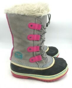 Sorel Joan of Arctic Gray Blue Pink Sz 3 Waterproof Insulated Girls Snow Boots