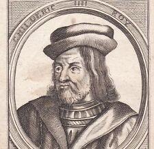 Portrait XVIIe Childéric III Roi des Francs Saliens Mérovingiens Basine Thuringe