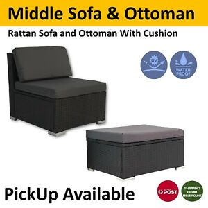Rattan Outdoor Furniture Middle Sofa/Seat And Ottoman Patio Wicker Lounge Garden