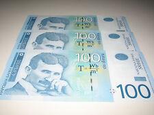 Serbia Banknote 100 Dinar Dinara Dinars Nikola Tesla 2013 Uncirculated