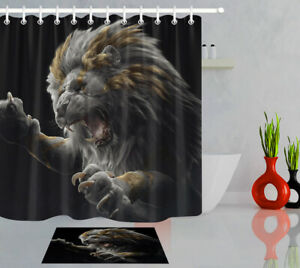 """72"""" Polyester Fabric Shower Curtain Set Black Background Wild Anmials Angry Lion"""