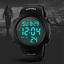 SKMEI Sport Digital Running Alarm Cool Smart Black Men XL Big Face Wrist Watches