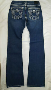 NEW Women's True Religion Bootcut DARK Wash Flap Pockets Jeans W 27 x L 33