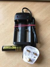 18650 4000mah Ultrafire 3.7v Rechargeable Battery & Twin Charger Fused UK Plug