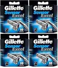 Mens Gillette Sensor Excel Razors Blades, 40 Cartridges, FREE SHIPPING