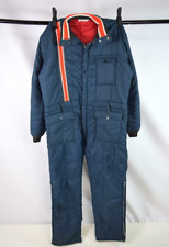 Vtg 70s Blue Red Stripe Coveralls Ski Snow Suit Board Insulated Jumpsuit Mens M