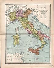 1903 MAP ~ ITALY IN DIVISIONS ROMA TUSCANY SICILY EMILIA SARDINIA LOMBARDY etc
