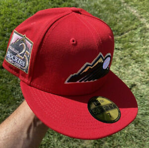 Exclusive Fitted Colorado Rockies 25th Anniversary Patch Hat Red 7 Not Hat club