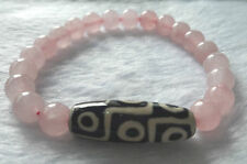 Rose Quartz With Nine Eyed Dzi Beads Bracelet 8 MM