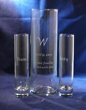 3 pc  Personalized Wedding Unity Sand Ceremony Set with 10x3 Glass Vase