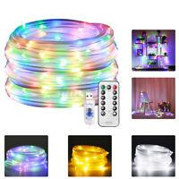 33ft USB RGB LED Rope Light String 8 Modes Fairy Light String Garden Xmas Decor