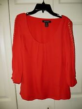 White House Black Market  Red  Silk Top  Long  Sleeve  Size  0  Gold Studs Trim