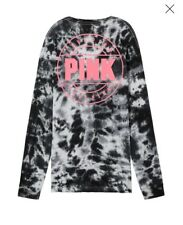 Victoria's Secret PINK Campus Long Sleeve Tee T-Shirt Medium Pink Black Tie Dye