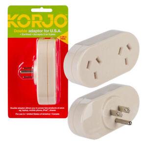Korjo Double Adaptor For USA From Australia New Zealand
