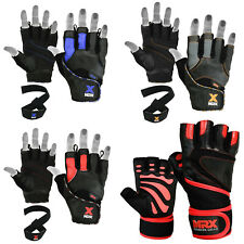 Weight Lifting Gloves Gym Leather Workout Training Fitness Bodybuilding Exercise