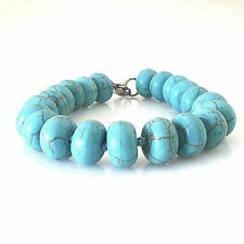 "New Genuine Turquoise .50"" Beads Bracelet Lobster Claw Closure 7.25"""