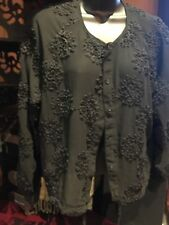Romantic Vintage Style Black Embroidered Ribbon Gothic Shirt