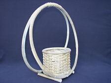 Japanese Woven Bamboo Ikebana Basket Yellowish Tan Washed Circular Double Handle